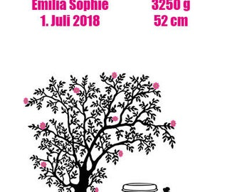 Tree of Life, Wedding Gift, Picture with Prolimit, Walling Picture, Gift Girlfriend, Wall Deco Love, Gift Birth, Baptisse, Heart Print