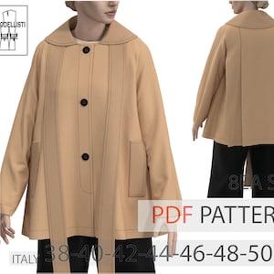 WACA083019 Cape style short coat PDF pattern