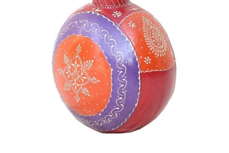 Handi Handmade Hand-Painted Vessel Metal round flower pot Flower Vase Handmade Arena Indian Ethnic Style