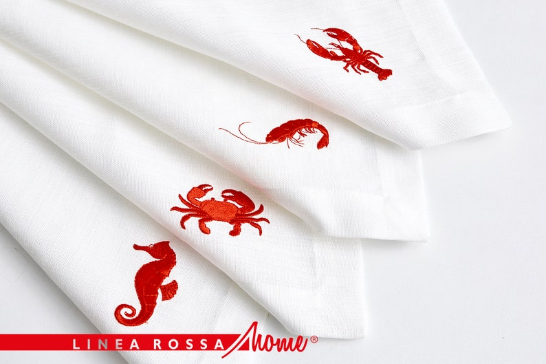 Placemats Set Of 4 Red Embroidery Placemats White Placemats image 1