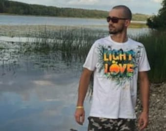 T-SHIRT for man by Artist Arni Motoblok Light of Love. Perfect present for him, short sleeves Cotton textile tshirt various colors and sizes