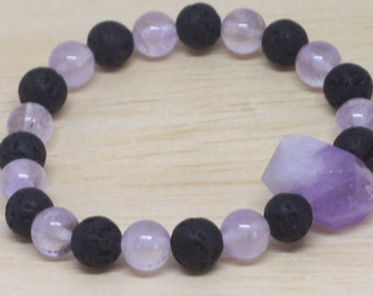 Lava GEMSTONE JEWELRY BRACELET for her or him, healing and calming also great accessory and perfect jewelry gift. Size variation for teens