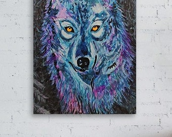 Copy of Unique Artist Painting Wolf - El Lobo. Different sizes CANVAS print on Natural textile for your HOME decor.