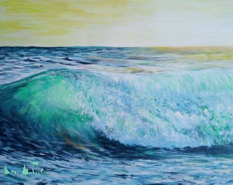 Hippy Artist Painting - Green Wave. Different size CANVAS print on Natural linen for your HOME decor. Unique postcard for special memories