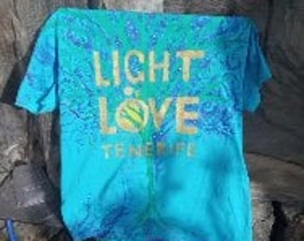 Blue HANDMADE T-SHIRT by ARNI Artist from Tenerife - Light of Love present for Unique and Powerful person, Cotton t-shirt sizes available