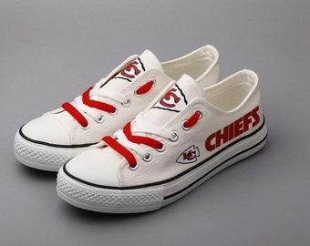 61466e029 Kansas City Chiefs Custom Shoes, Men's Women's Youth custom shoes, low  tops, Gifl NFL shoes, Football shoes