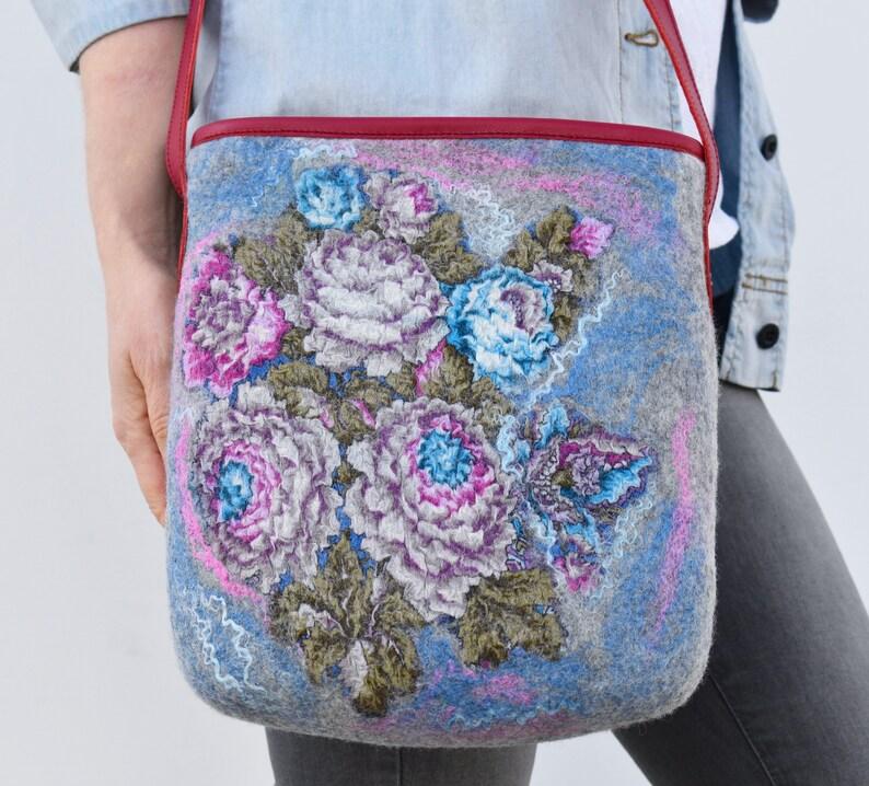 Leather crossbody bag for women Shoulder bag with flowers Grey handbag Art boho Handmade exclusive bag
