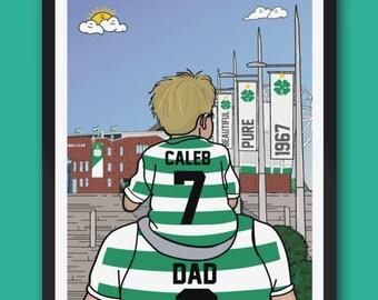 Personalised CELTIC custom Dad and Lad artwork
