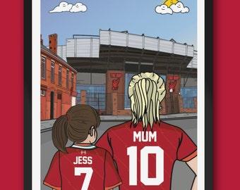 Personalised LIVERPOOL fc custom Mum & Lass artwork - LFC Anfield Stadium Football Ground Team Gift Art Print Kop YNWA Mothers day gifts