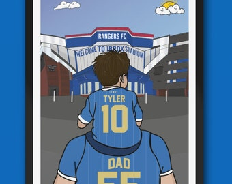 Personalised GLASGOW RANGERS fc custom Dad & Lad artwork - GRFC Ibrox Stadium Football Ground Gift Art Print The Gers 55 gifts fathers day