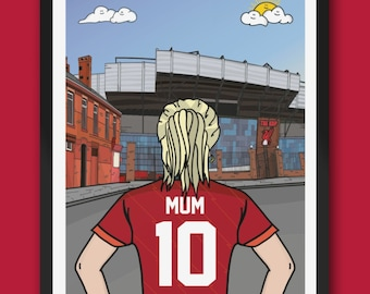Personalised LIVERPOOL fc custom Female artwork - LFC Anfield Stadium Football Ground Team Gift Art Print YNWA Kop Ladies mothers day gifts