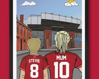 Personalised LIVERPOOL fc custom Mum & Lad artwork - LFC Anfield Stadium Football Ground Team Gift Art Print Kop YNWA Mothers day gifts
