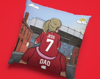 Personalised LIVERPOOL custom Dad & Lass Cushion - LFC Anfield Stadium Football Ground team Gift Suede Premiership epl Gifts girl bedroom