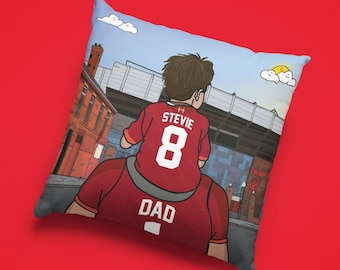 Personalised LIVERPOOL custom Dad & Lad Cushion - LFC Anfield Stadium Football Ground team Gift Suede Premiership epl Gifts boy fathers day