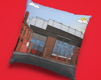 Personalised LIVERPOOL Anfield Cushion - LFC KOP Stadium Football fc Ground Team Gift Suede Premiership epl Gifts home bedroom fathers day
