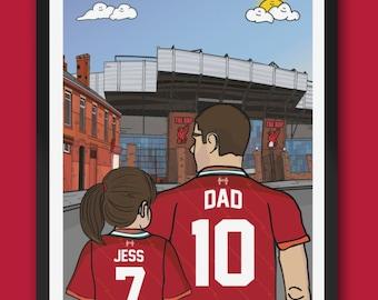 Personalised Liverpool FC custom Dad & Lass PRINT - LFC Kop Anfield Stadium Football Gift Art Prints The Reds Gifts efl Premiership fathers