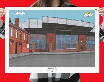 Liverpool FC Anfield Football Stadium Ground PRINT -  LFC Football Club Team Ground Gift Art Print, The Reds, epl kop gifts Canvas ynwa