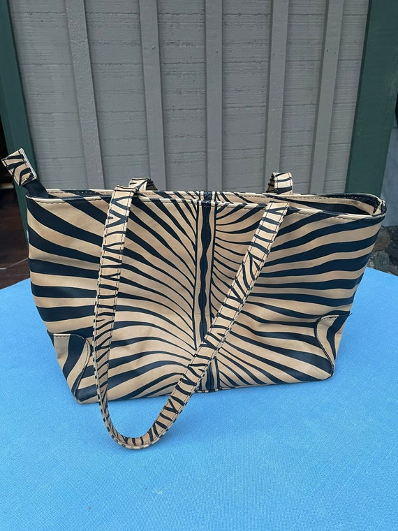 Fine leather handbag, zebra stripes print from Afr