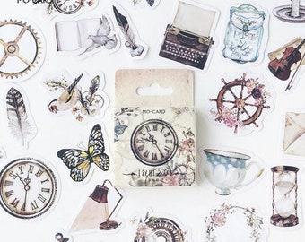 Vintage stickers • Journal stickers • planner stickers • scrapbook stickers • paw • typewriter  • planner stickers uk • steampunk • clock
