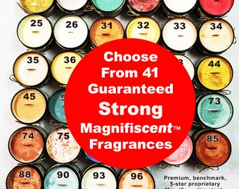 Choose from 41 strong soy candle scents fragrances hand crafted guaranteed ECO 100% natural gift friend supports animal rescue Golden Rule