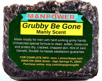 Working man's 7.5oz bar soap scrubs smooth's grubby hands all natural creamy exfoliating with Jack Daniels support animal rescue