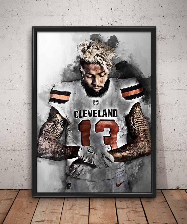 reputable site 82f7e b3c1d Odell Beckham Jr poster Odell Beckham Jr print Cleveland Browns wall art  home decor Free Shipping Worldwide