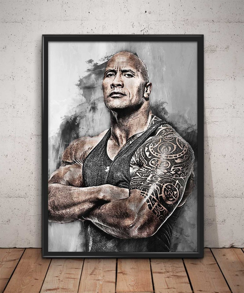 DWAYNE JOHNSON A4 THE ROCK INSPIRATIONAL QUOTE FRAMED  POSTER PRINT PICTURE