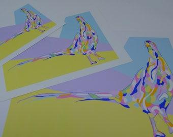 Jersey Top With Giraffe Colourful Ethnic Print JTK1437