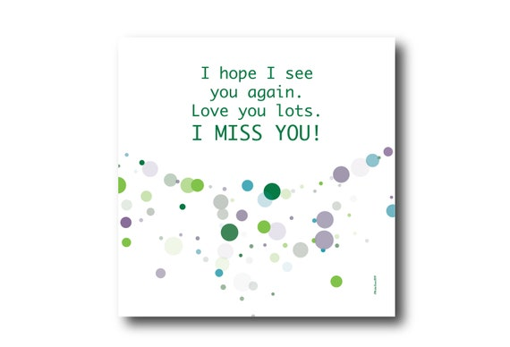 Digital missing you card wishes, instant download, printable at home, ready to post, Pantone Colors