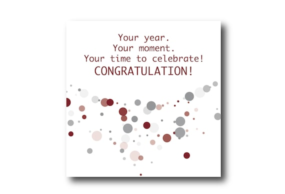 Digital Congratulations card wishes, Instant download, Social Media Image, Pantone Winery and Ultimate Gray Colors