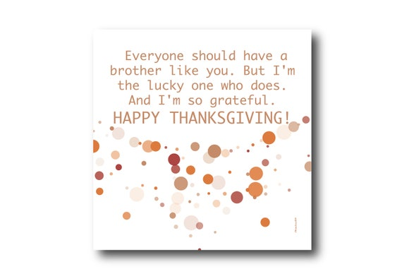 Digital Thanksgiving card wishes for a Brother, instant download, printable at home, Pantone Colors, Sustainable Design
