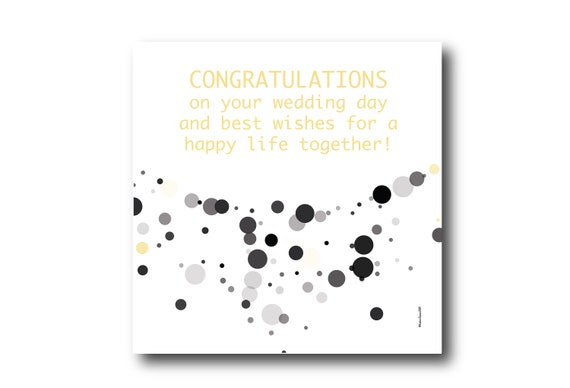Digital Wedding Congratulation Greeting card wishes, instant download, printable at home, ready to post, Pantone Colors, Pantone Colors