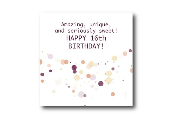 Digital Sweet 16th Birthday Wishes Greeting Card, Pantone Colors, social media ready image