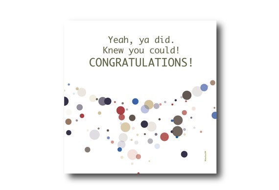 Digital Congratulations card wishes, instant download, printable at home, Pantone Colors