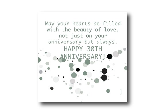 Digital 30th Wedding Anniversary Card wishes, Pantone Colors
