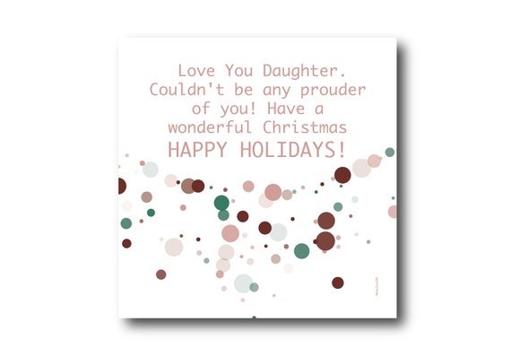 Digital Holiday Season card wishes for a daughter, instant download, printable at home, ready to post, Pantone Colors