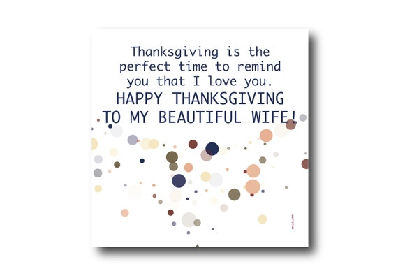 Digital Thanksgiving card wishes for wife, instant download, printable at home, Pantone Colors, Sustainable Design