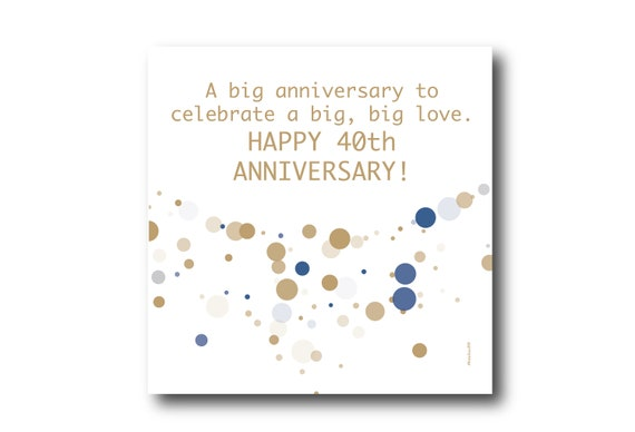 Digital 40th Wedding Anniversary Card wishes, Pantone Colors