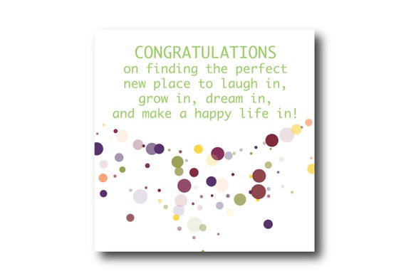 Digital Housewarming card wishes, instant download, printable at home, Pantone Colors Emboldened