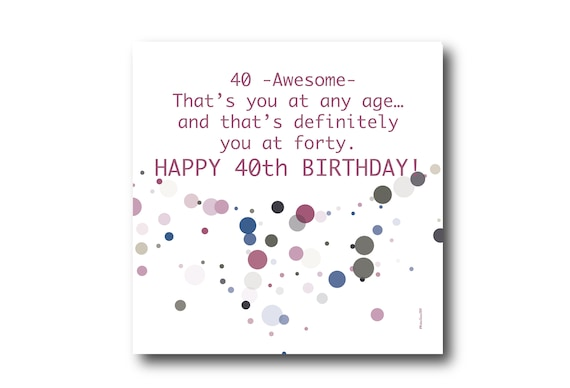 Digital 40th Birthday card wishes, instant download, printable at home, Pantone Colors