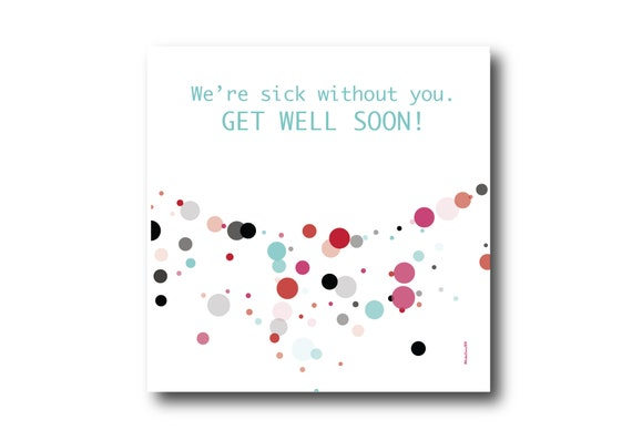 Digital Get Well Soon card wishes, instant download, printable at home, ready to post, Pantone Colors