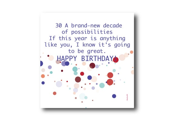 Digital 30th Birthday Wishes greeting card, Pantone Colors