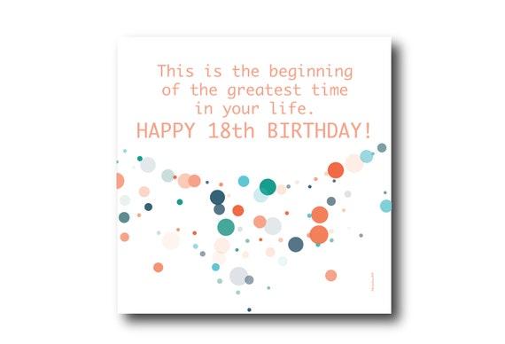 Digital 18th Birthday Wishes greeting card, Pantone Colors