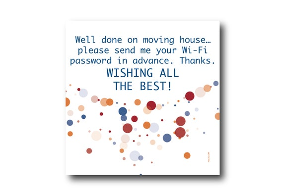 Digital Housewarming card wishes, instant download, printable at home, Pantone Colors
