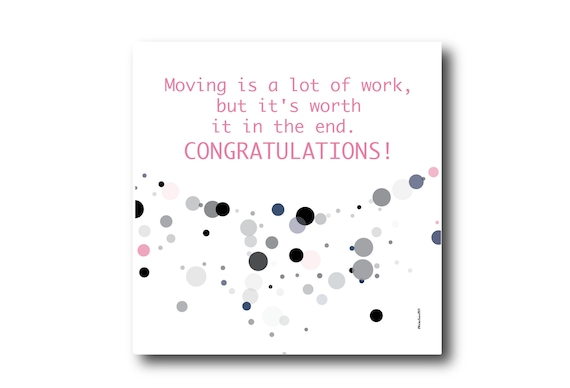 Digital Moving card wishes, instant download, printable at home, ready to post, Pantone Colors