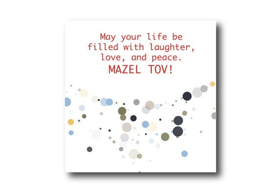 Digital Mazel Tov card wishes, instant download, ready to post, Pantone Colors