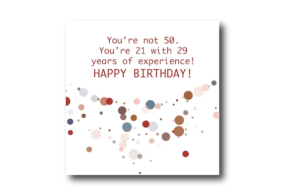 Funny 50th Birthday Digital Wishes greeting card, Pantone Colors