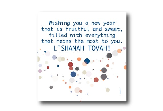 Digital Rosh Hashanah card wishes, instant download, printable at home, ready to post, Pantone Colors