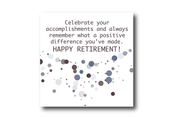 Digital Retirement card wishes, instant download, printable at home, ready to post, Pantone Colors