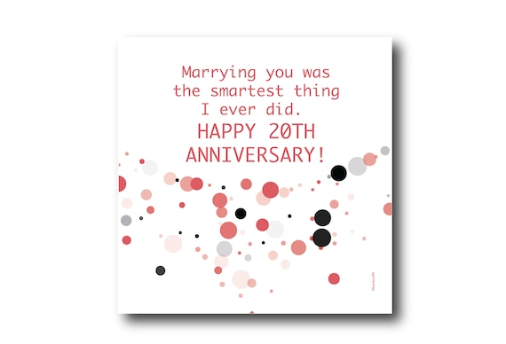 Digital 20th Wedding Anniversary Card wishes, Pantone Colors